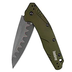 cheap Kershaw Dividend Composite Folding Pocket Knife, Olive, SpeedSafe 3-inch Blade with Holes…