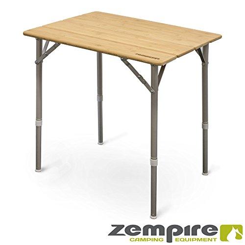 Zempire Design Campingtisch Bambusplatte Klapptisch Falttisch Tisch Flaschenöffner Höhenverstellbar 65 x 50 x 65/43cm