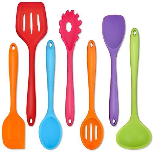 Silicone Kitchen Utensils, P&P CHEF 7-Pieces Cooking Utensils Spatula Set, Kitchen Tools for Nonstick Cookware Cooking Serving, Slotted Turner, Ladle, Spatula, Pasta Server, Spoon- Multicolor