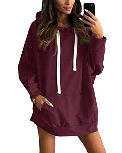 YOINS Sweatshirt Damen Langer Kapuzenpullover Langarm Hoodie Pullover mit Tasche Pulli Kleider Strickjacke Lange Tops Mantel (S, Aktualisierung-Weinrot)
