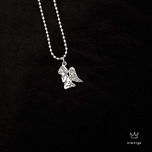 Yiffshunl Collar Hip Hop Collar Festival de música Ángel Cabeza de Conejo Collar de Hoja de cáñamo Perla Redonda Di Punk Colgante Collar Cadena de clavícula para Hombres