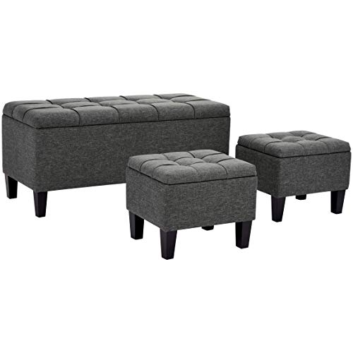 First Hill Bergen 3Piece Storage Ottoman Bench Set with Fabric Upholstery Iron Gray