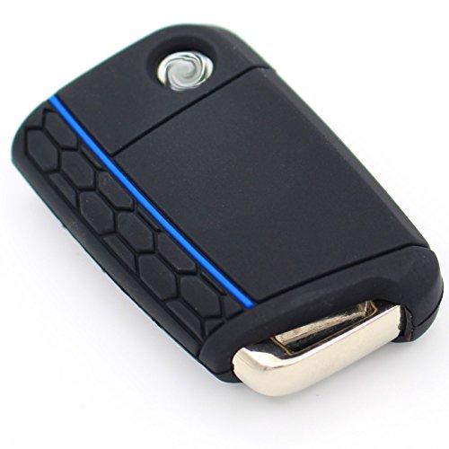 Schlüssel Hülle VB für 3 Tasten Auto Schlüssel Silikon Cover Schlüsselhülle Etui Schutzhülle (.Schwarz Blau)