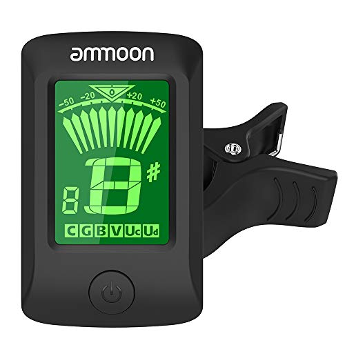 Afinador de Guitarra, ammoon Clip-On Electrónica Digital Pantalla LCD para Guitarra Cromática Bajo Ukulele C/D Violin