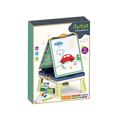 Caballete para niños, tablero de caballete de pie para niños, tablero de dibujo de doble cara plegable, contiene 2 juegos de mesa, con pizarra y pizarrón, accesorios de arte para niños pequeños, niñas