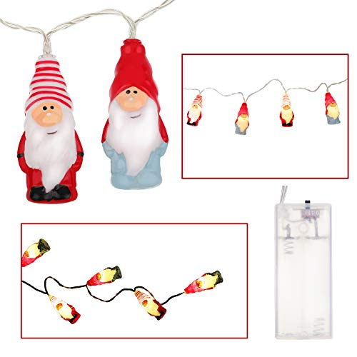 Mudder Christmas Gnome LED String Lights 5.9 Feet 10 LED String Lights Christmas LED Gnome Lights Xmas Gnome String Lights for Christmas, Party, Wedding Decor Christmas Tree Decorations 3