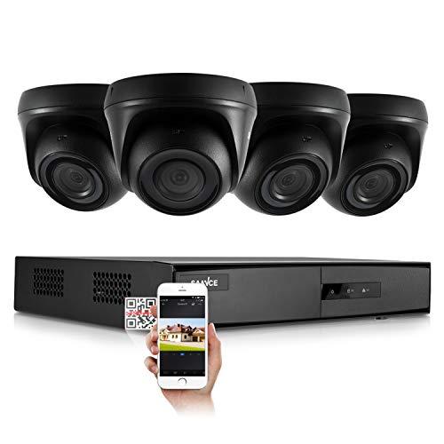 SANNCE 1080P HD CCTV Überwachungssystem Videoüberwachung Set 4CH 5in1 DVR Recorder mit 4 Outdoor 1080P Dome Überwachungskamera, 20M IR Nachtsicht, ohne Festplatte