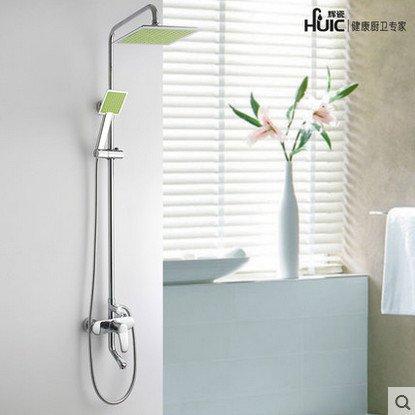 Retro Deluxe Faucetinging volledig koper douche kraan lift douchecabines douche groot pakket set suite douche systeem muur gemonteerd vierkant hoofd gratis verzending Kleur: wit