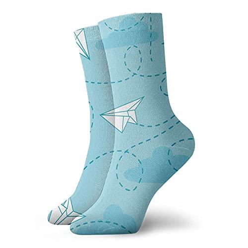 huatongxin Calcetines cortos unisex, aviones de papel Origami, calcetines deportivos suaves al aire libre, calcetines ligeros para mujeres y hombres
