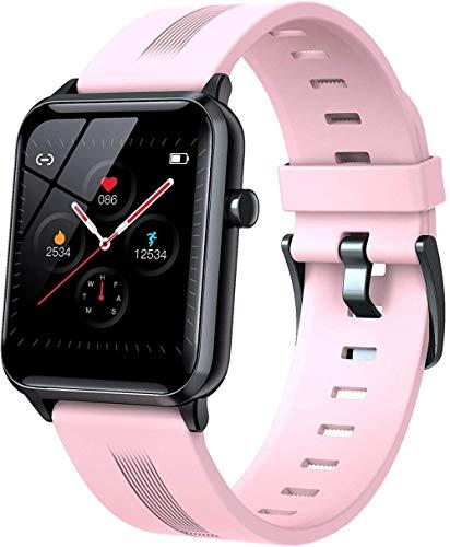 Reloj inteligente para exteriores con Bluetooth, control de música, varios modos deportivos, monitor de frecuencia cardíaca, control de salud, táctil + botón, adecuado para adultos y niños, color rosa