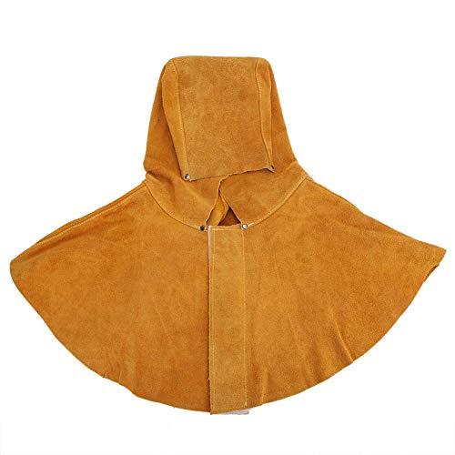 Capucha para soldar, piel de vacuno amarilla, aislamiento térmico para el cuello, protección facial, casco para soldar, máscara de seguridad con cubre cuello y hombros