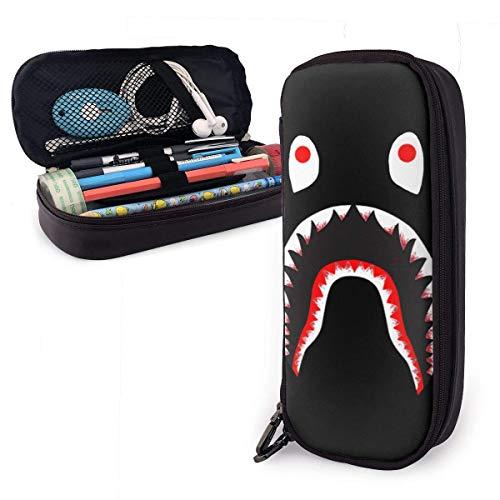 B-a_pe B-l_OOD S_-Hark Federmäppchen - Hochleistungs-Bleistiftbeutel aus PU-Leder mit doppeltem Reißverschluss Briefpapier Organizer Multifunktions-Kosmetik-Make-up-Tasche