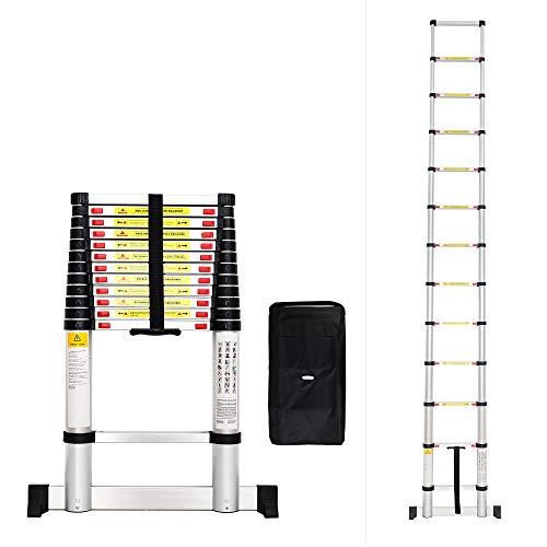 Todeco - Escalera Telescópica, Escalera Plegable - Carga máxima: 150 kg - Estándar/Certificación: EN131 - 3,8 Metro(s), Barra estabilizadora, Bolsa de transporte GRATIS, EN 131