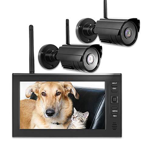 Überwachungskamera System, CCTV Monitor Kamera 7 Zoll WiFi 4CH Sicherheitsmonitor-Systemanzeige + Kamera 2pcs IR-Kameras + TF-Karte(EU)