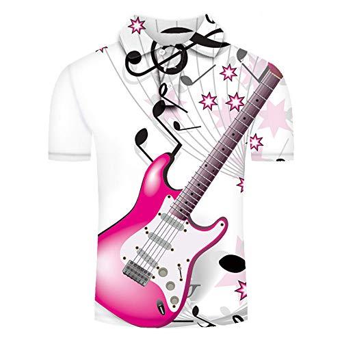 MTCDBD Camiseta Polo de Manga Corta para Hombre 3D Estampado, Polo Playa para Hombre de Funky Hawaii Summer Tops de Verano Clásica Cómodo Transpirable, Notas De Guitarra Rosa,5XL