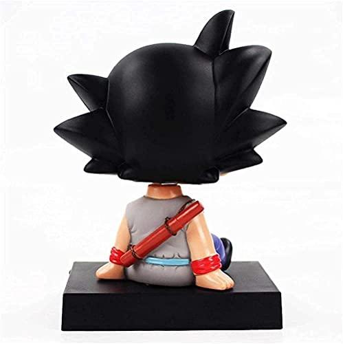 3 uds Bobble Head Action Son Goku Figura Krillin Shake Head Head Holder Soporte decoración de Coche Anime Modelo PVC Juguetes Regalos 13cm