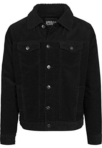 Urban Classics TB1797 Herren und Jungen Sherpa Corduroy Jacket, klassische Kord Trucker-Jeansjacke für Herbst und Winter, mit Fell warm gefüttert - Farbe black/black, Größe XXL
