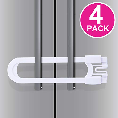 Sliding Cabinet Locks - Baby Proof & Child Safety Fridge Lock, U Shaped Cabinet Latch for All Kinds of Handles (4 Pack, White)