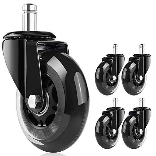 BMK オフィスチェア交換用キャスター チェア用ホイール ポリウレタンホイール 差し込み式 76mm (3インチ) 足回りパーツ 360度回転 静音 頑丈 傷つけにくい ブラックと透明 【5個セット】