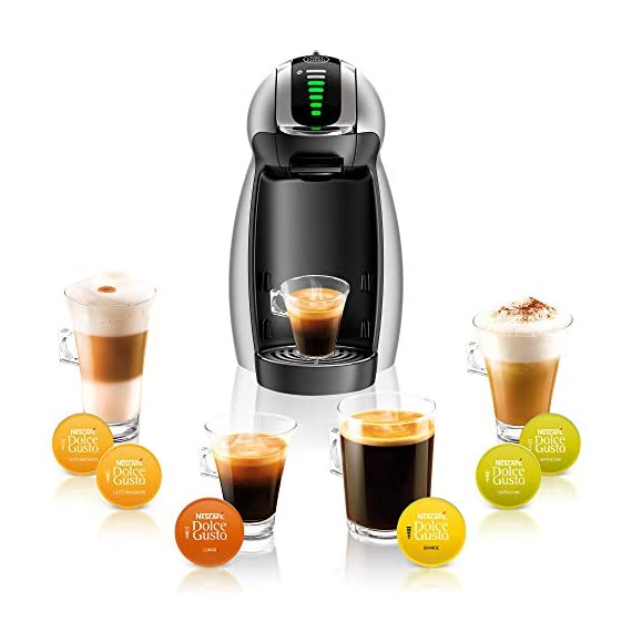 Nescafé dolce gusto coffee machine, genio 2, espresso, cappuccino and latte pod machine 5 the nescafe dolce gusto genio 2 is an automatic capsule coffee machine, designed to perfectly fit your single cup, black and specialty coffee brewing needs with a small footprint coffee house inspired drinks - explore the wide variety of decadent flavors and coffee house inspired drinks offered by the nescafe dolce gusto capsule-based coffee machine. With 15 flavor varieties, choose from authentic espresso, americano, cappuccino, latte, and more. Easy interface - use the toggle-stick to adjust the led display controlling the size and intensity of your coffee, match the led bars to the bars on your dolce gusto capsule, position the toggle stick to either hot or cold, and brew.