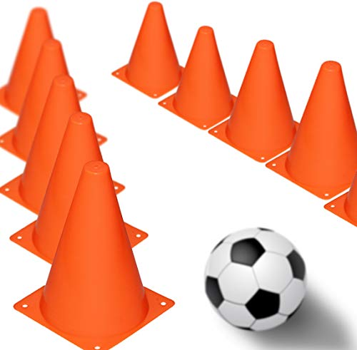 Novelty Place Multipurpose Training Cones (Set of 12), Soft & Durable Traffic Cone for Safety, Agility, Soccer, Football & Other Activities - Neon Orange 7 Inch