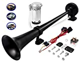 Carfka Air Train Horn Kit for Truck Car with Air Compressor, Super Loud 150DB 12V Electric Trains Horns for Vehicles, Single Trumpet Air Horn Complete Kits for Easy to Install (Black)