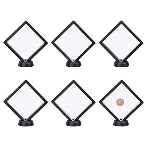 SUPERFINDINGS 6sets 10,9 cm Schwarz 3D Floating Showcase Unterstützt mit TPU Film und Display Stand Armband Basis Display für Challenge Coins Diamond Medaillon