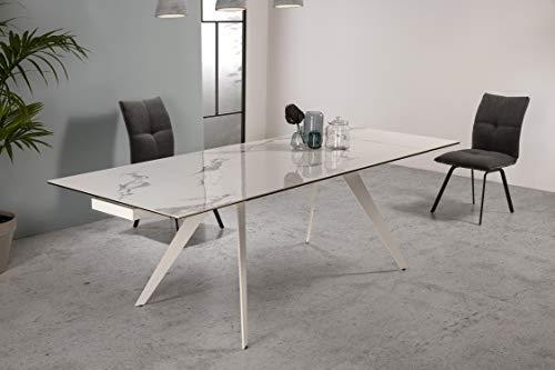 ambiato Esstisch Duke Echt Keramik Weiß ausziehbar 160-240x90 cm Porzellan Tischplatte White Premium Tisch