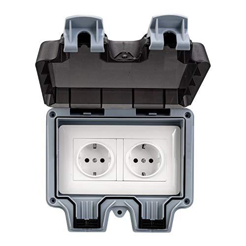 HerePow Presa per interruttore da esterno impermeabile, Presa per interruttore IP66, Scatola per presa di corrente impermeabile per giardino, parco, bagni e applicazioni commerciali