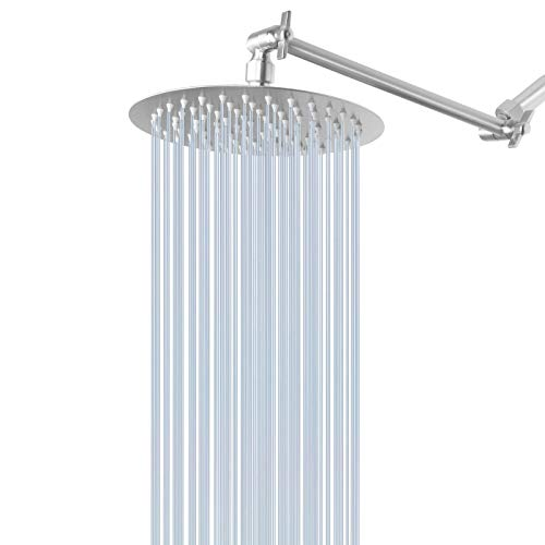 Rain Shower Head with 11'' Adjustable Arm, NearMoon High Pressure Stainless Steel Rainfall Showerhead, Ultra-Thin Design - Pressure Boosting, Awesome Shower (8-Inch Shower Head with Arm, Nickel)
