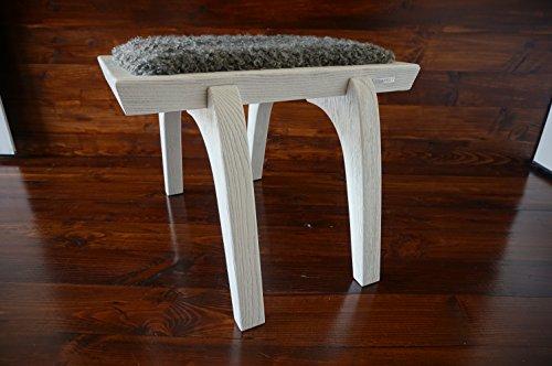 MILABERT Minimalistisch Weiß Eichenholz Hocker/Stuhl mit Echtem geschweiften Silber Schwedischen Gotland Schaffell - Designermöbel (S051604)