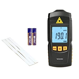 Digital Tachometer Handhled Non Contact Laser Tach Meter 2.5 to 99999 RPM Meter, Professional Replacement Tachometers with Reflection Tape Marks, Battery Included
