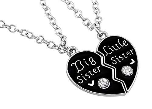 Hanessa Mädchen-Schmuck 2 Schwestern-Halsketten Big & Little Sister Herz-Anhänger Geschenk für die Große und Kleine Schwester