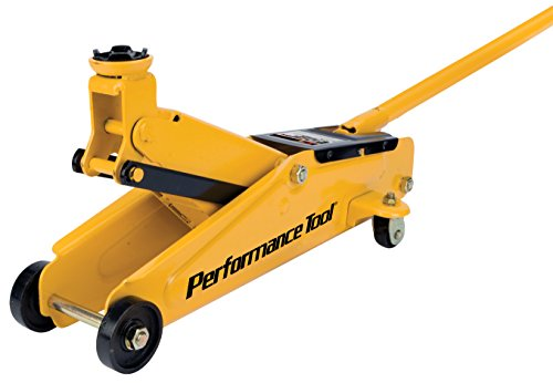 Performance Tool W1614 2 Ton (4,000 lbs.) Capacity Floor Jack Made With Heavy Duty Steel And Swivel Rear Casters
