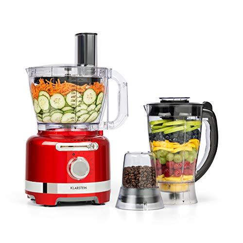 Klarstein Luca Multifunktionsmixer Standmixer Zerkleinerer Küchenreibe Saftpresse Food Processor, 1000 Watt, stufenlos, 6 Modi, BPA-frei, 3 Liter, 3 l Messbecher, Spatel, Rot