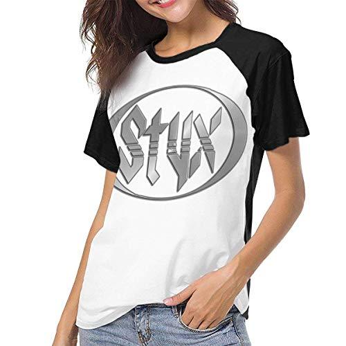 Kmehsv Styx Women Baseball Damen Kurzarm T-Shirts mit Rundhalsausschnitt