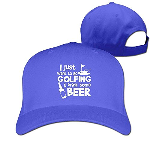Pimkly Unisex Hüte,Baseballmützen, I Just Want to Go Golfing and Drink Some Beer Cotton Pure Color Baseball Cap Classic Adjustable Ball Hat