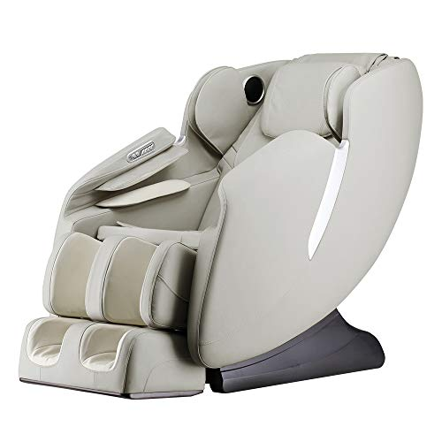 AmaMedic R7 Massage Chair 8 Fixed Massage Rollers Space Saving Recline 16 Airbag Massage Zero Gravity 6 Automatic Programs (Taupe)