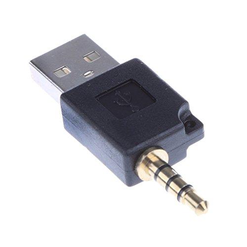 Adaptador de Audio de USB 2.0 a 3.5mm Jack para iPod Shuffle 1ra 2da Generación - Negro