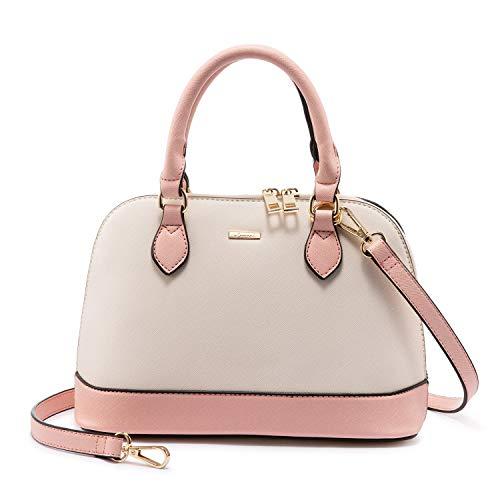 Small Crossbody Bags for Women Classic Double Zip Top Handle Dome Satchel Bag Shoulder Purse Pink&Beige