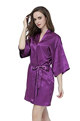 Women's Satin Short Kimono Robes, Short Dressing Gown Nightwear with Oblique V-Neck from Tony & Candice