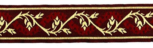 10m Mittelalter Borte Webband 35mm breit Farbe: Bordeaux-Gold ET-35094-bogo