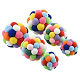 Bluecell World 6 PCS Cat Toys Ball Colorful Handmade Plush Bouncy Ball with Bell for Cat Kitten Dog Playing (2L+2M+2S)