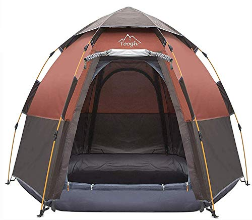 Toogh 3-4 Person Camping Tent Backpacking Tents Hexagon Waterproof Dome Automatic Pop-Up Outdoor Sports Tent Camping Sun Shelters Provide Top Rainfly, Advanced Venting Design.