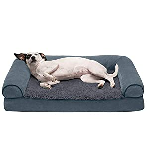 Furhaven Pet Dog Bed – Orthopedic Faux Fleece and Chenille Soft Woven Traditional Sofa-Style Living Room Couch Pet Bed with Removable Cover for Dogs and Cats, Orion Blue, Medium