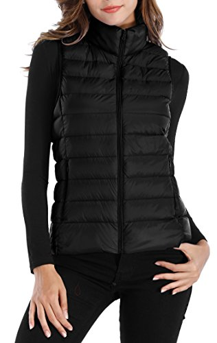 Sarin Mathews Womens Packable Ultra Lightweight Down Vest Outdoor Puffer Vest Black M