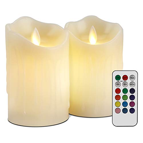 2PCS LED Kerzen, Jooheli Flammenlose Kerzen mit Wachstropfen, Flackern Kerzen Farbwechselnde LED-Kerzen mit Fernbedienung Stunden Timer für Hochzeit, Geburtstags