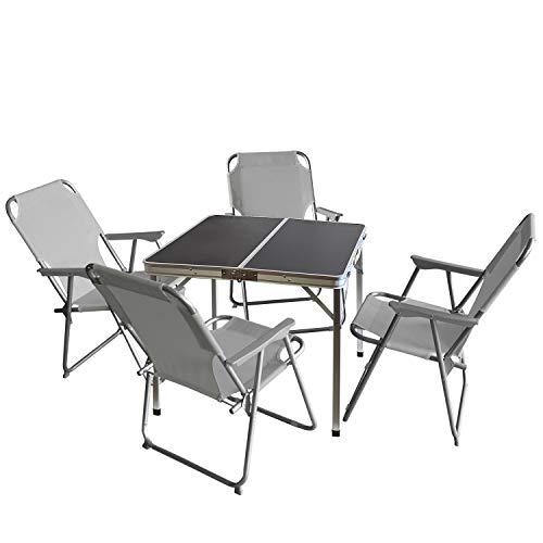 Wohaga 5tlg. Campingmöbel Set Campingtisch 'Domburg' Schwarz 80x80cm + 4X Campingstuhl, Hellgrau/Strandmöbel Campinggarnitur Gartenmöbel