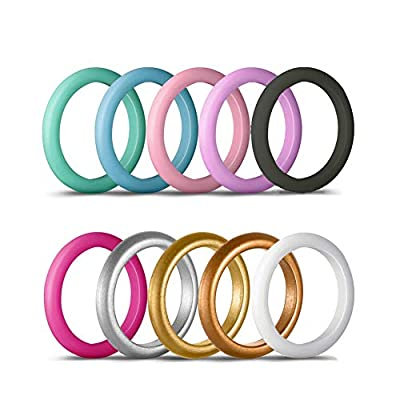 shiYsRL Exquisite Jewelry Ring Love Rings 10Pcs Women Fashion Silicone Wedding Band Ring Jewelry Solid Color Party Gift Wedding Band Best Gifts for Love with Valentine's Day - US 5
