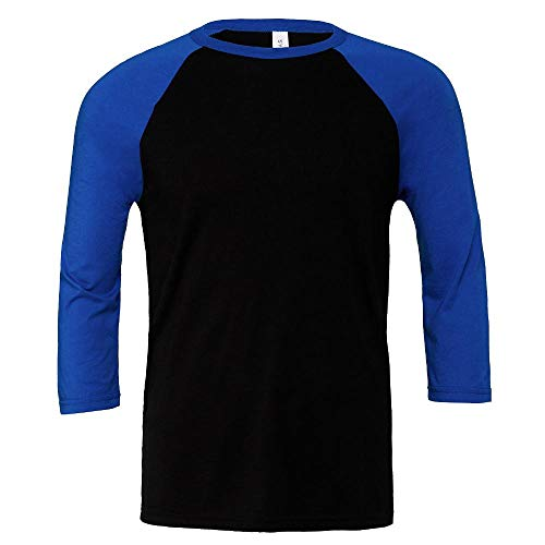 Canvas Unisex 3 / 4 Sleeve Baseball T-Shirt, Größe:L, Farbe:Black/True Royal